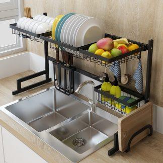 You Re Viewing Black Stainless Steel Kitchen Rack Sink Dish Drain Bowl Supplies Storage 159 00 179