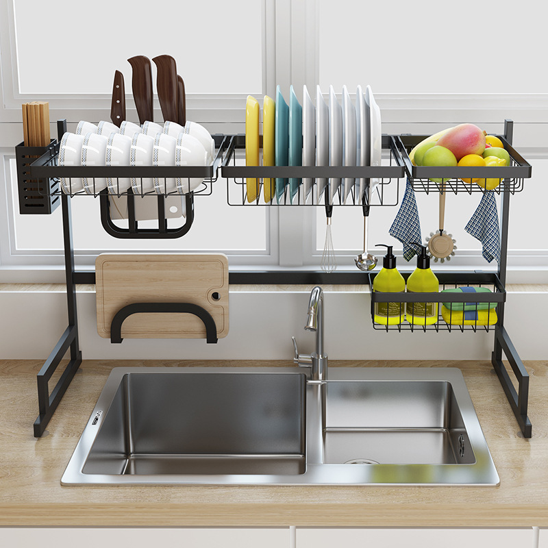 Black stainless steel kitchen rack sink sink dish rack drain bowl rack dish  rack kitchen supplies storage rack