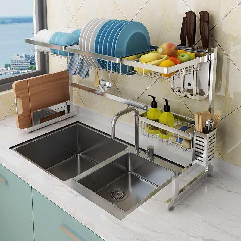 304 Silver Stainless Steel Kitchen Rack Sink Drain Rack Dish Bowl Holder Kitchen Storage Rack 2 Floors Shelf Eglobalgo