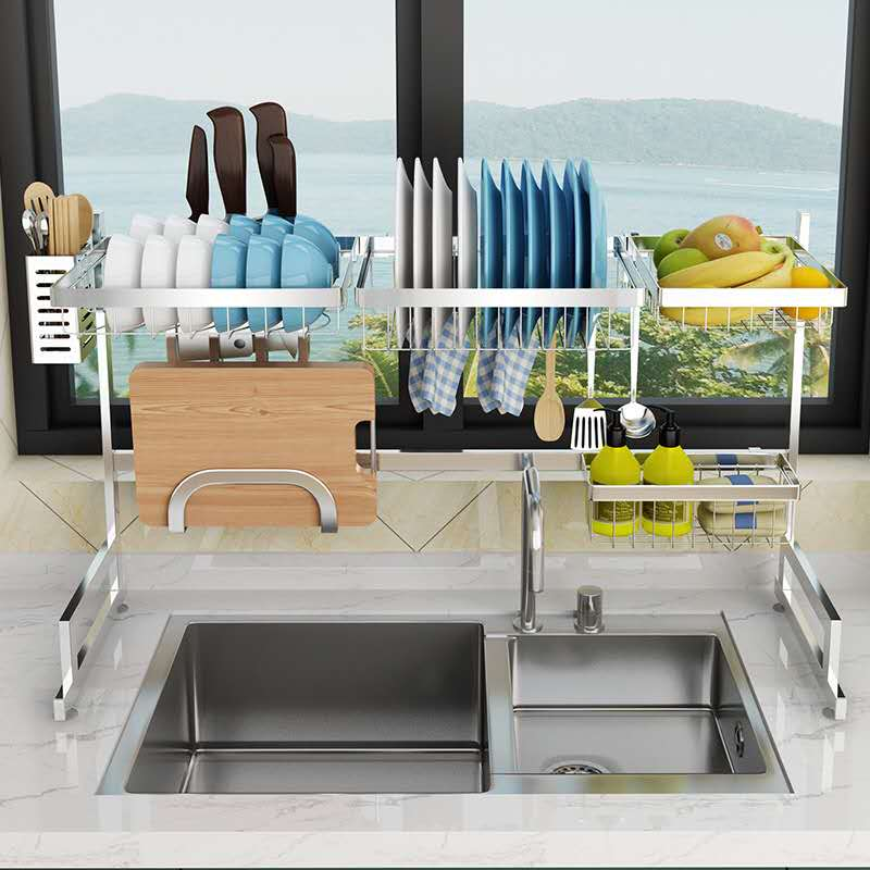 304 Silver Stainless Steel Kitchen Rack Sink Drain Rack Dish ...
