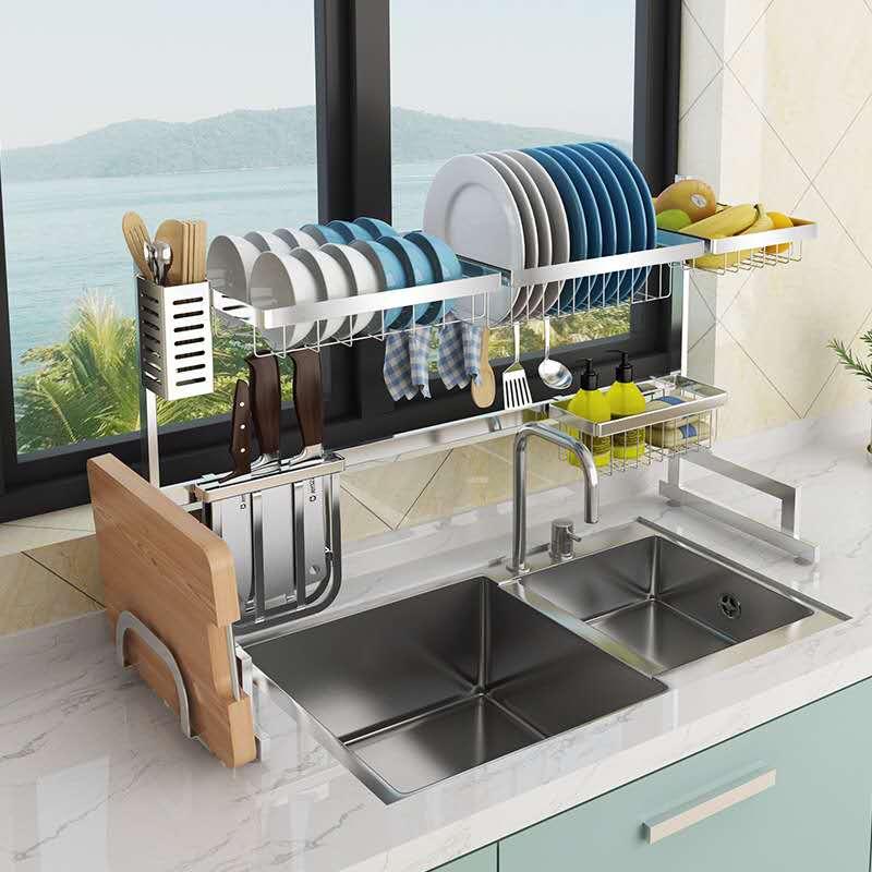 304 Silver Stainless Steel Kitchen Rack Sink Drain Rack